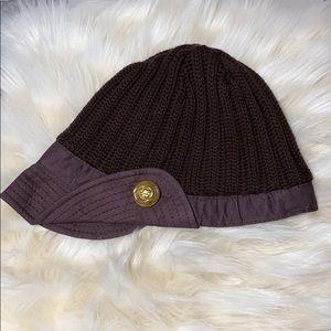 Gucci dark brown cap beanie w/ gold button detail